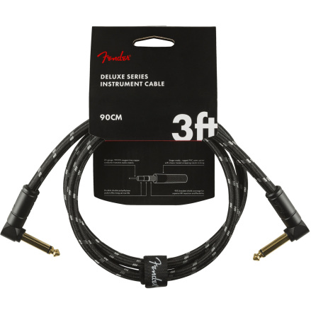 Fender Deluxe Series Instrument Cable, Angle-Angle, 3ft, Black Tweed
