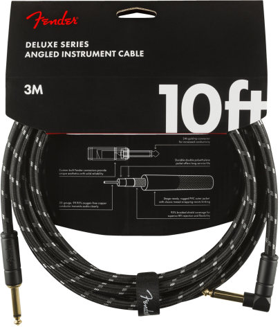 Fender Deluxe Series Instrument Cable, Straight-Angle, 10ft, Black Tweed