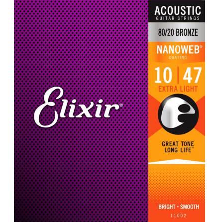 Elixir Acoustic 80/20 Bronze NANOWEB | 010-047