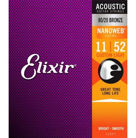 Elixir Acoustic 80/20 Bronze NANOWEB | 011-052