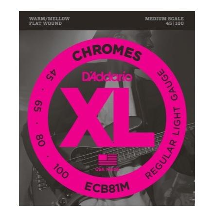 DADDARIO ECB81M Chromes Flatwounds 45-100 Medium Scale