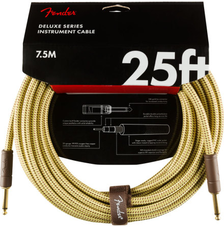 Fender Deluxe Series Instrument Cable, Straight/Straight, 25ft, Tweed
